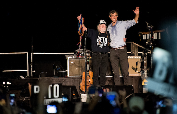 UNITED STATES - SEPTEMBER 29: Democratic candidate for U.S. Senate from Texas Rep. Beto O'Rourke joins Willie Nelson on stage during his Turn out For Texas Rally, featuring a concert by Wille Nelson, in Austin, Texas on Saturday, Sept. 29, 2018. (Photo By Bill Clark/CQ Roll Call)