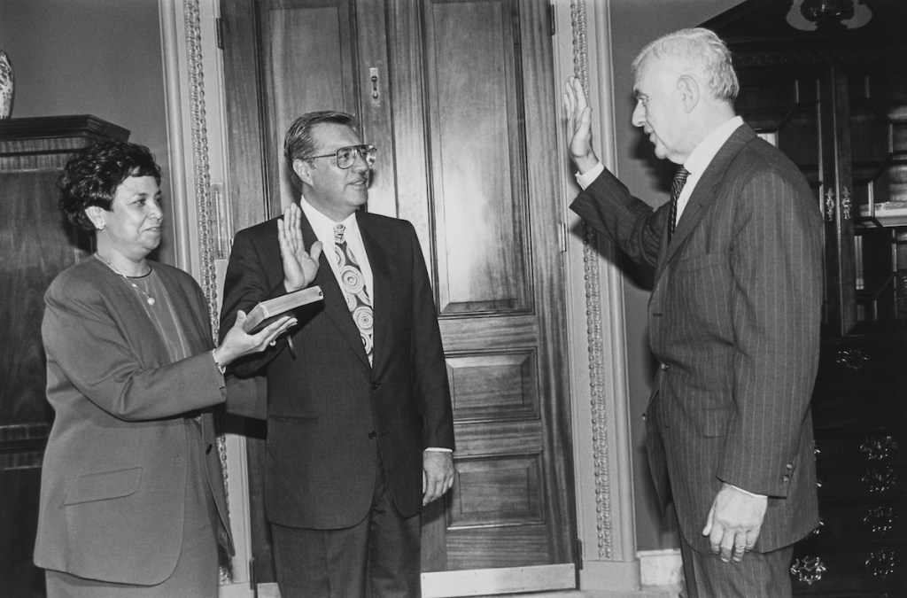 Rep. Ed Pastor took part in a mock swearing-in led by Speaker Tom Floey, D-Wash., after winning a 1991 special election. (Maureen Keating/CQ Roll Call file photo)