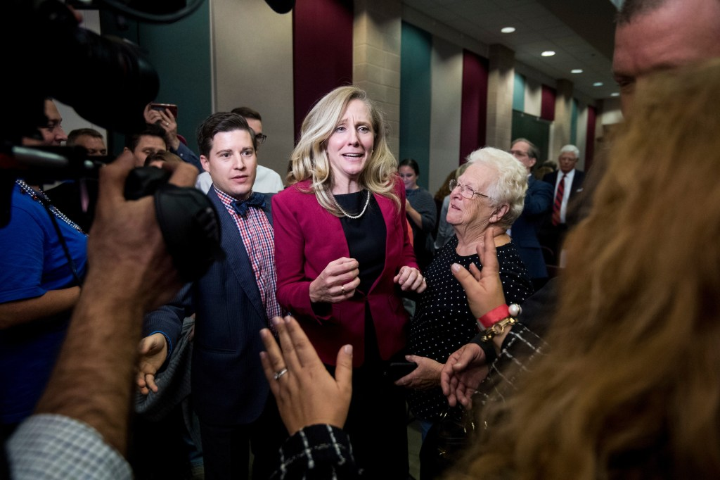 Abigail Spanberger, Democratic challenger to Rep. Dave Brat, R-Va., speaks with supporters after the Virginia 7th Congressional district debate with Rep. Brat at the Germanna Community College in Culpeper, Va., on Monday, Oct. 15, 2018. (Photo By Bill Clark/CQ Roll Call file photo)