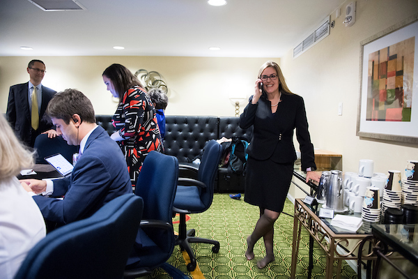 Jennifer Wexton takes a phone call former Vice President Joe Biden congratulating her on her win over Rep. Barbara Comstock, R-Va., for Virginia's 10th district seat on Tuesday. (Bill Clark/CQ Roll Call)