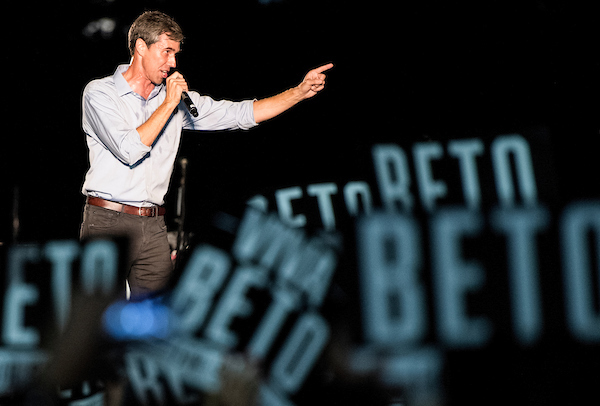 SEPTEMBER 29: Democratic candidate for U.S. Senate from Texas Rep. Beto O'Rourke speaks to the crowd at his Turn out For Texas Rally, featuring a concert by Wille Nelson, in Austin, Texas on Saturday, Sept. 29, 2018. (Photo By Bill Clark/CQ Roll Call)