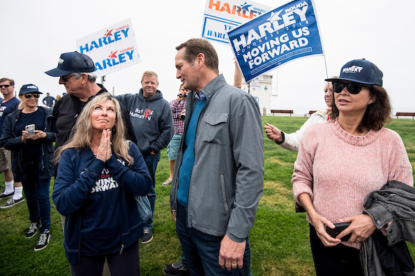 MAY 20: Harley Rouda, Democrat running for California's 48th Congressional district seat in Congress, speaks with supporters during his campaign rally in Laguna Beach, Calif., on Sunday, May 20, 2018. California is holding its primary election on June 5, 2018. (Photo By Bill Clark/CQ Roll Call)
