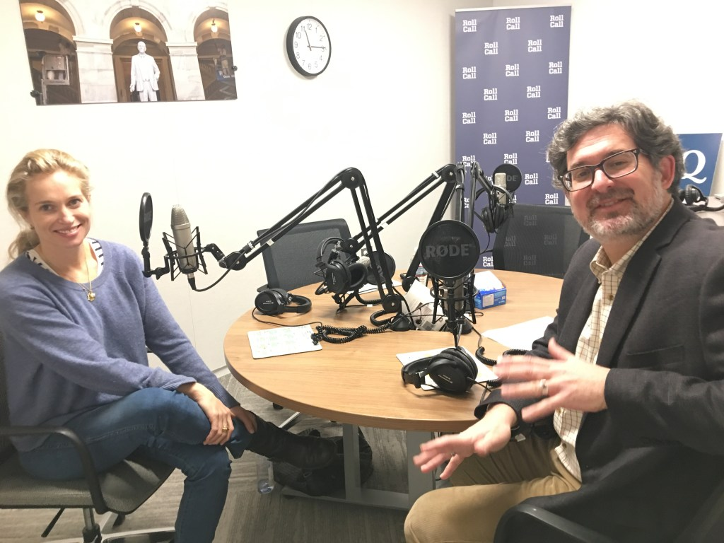 Alexis Bloom, left, discusses her movie with Political Theater Podcast host Jason Dick. (Toula Vlahou/CQ Roll Call)