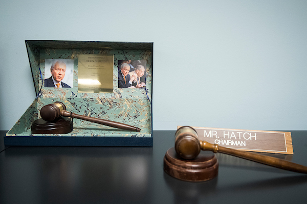 UNITED STATES - DECEMBER 11: Gavels not yet packed are on display outside of Sen. Orrin Hatch's office on Dec. 11, 2018, as he prepares to depart the U.S. Senate. (Photo By Bill Clark/CQ Roll Call)