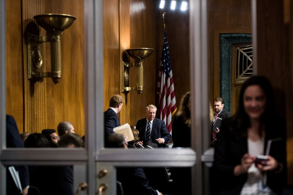 UNITED STATES - FEBRUARY 5: Chairman Sen. Lindsey Graham, R-S.C., arrives for the confirmation hearing for Neomi Rao, nominee to be U.S. circuit judge for the District of Columbia Circuit, in the Senate Judiciary Committee on Tuesday, Feb. 5, 2019. (Photo By Bill Clark/CQ Roll Call)