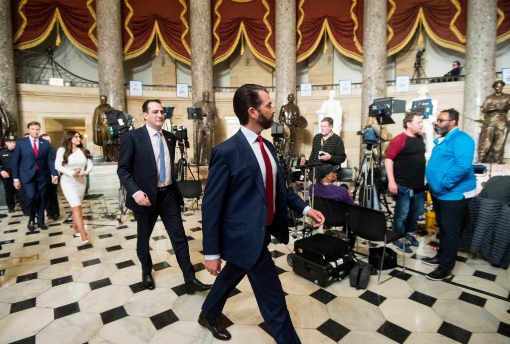 UNITED STATES - FEBRUARY 5: Donald Trump Jr., walks through Statuary Hall on his way to House Minority Leader Kevin McCarthy's office before his father President Donald Trump delivers his State of the Union address to a joint session of Congress in the Capitol on Tuesday, Feb. 5, 2019. He had mistakenly walked towards Speaker Pelosi's office first. (Photo By Bill Clark/CQ Roll Call)