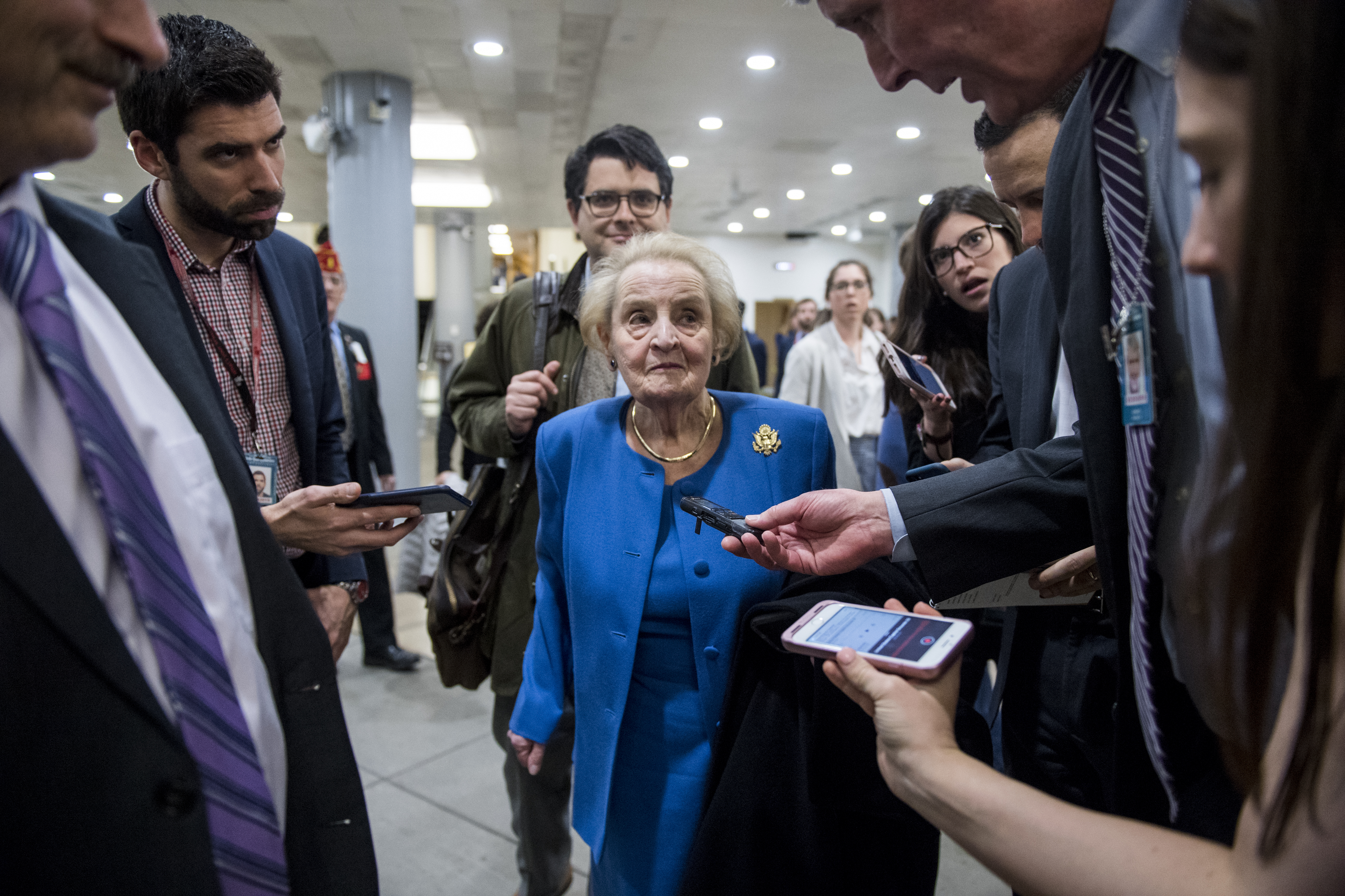 UNITED STATES - FEBRUARY 26: Former Secretary of State Madeleine Albright speaks with reporters as she waits to board the Senate subway in the Capitol on Tuesday, Feb. 26, 2019. (Photo By Bill Clark/CQ Roll Call)