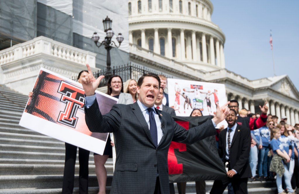 UNITED STATES - APRIL 4: Rep. Jodey Arrington, R-Texas, films a video on the House steps in support of Texas Tech basketball in the NCAA Final Four on Thursday, April 4, 2019. (Photo By Bill Clark/CQ Roll Call)