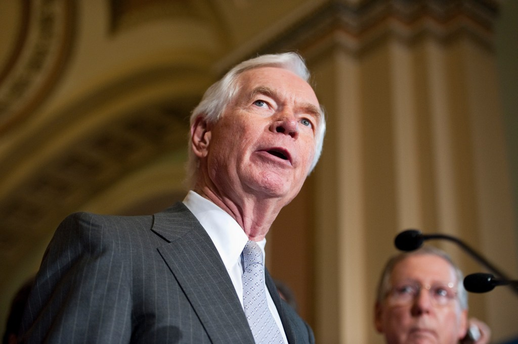 UNITED STATES - JULY 13: Sen. Thad Cochran, R-Miss., speaks to reporters in the Ohio Clock Corridor of the US Capitol following the Senate Republicans' lunch on Tuesday, July 13, 2010. (Photo By Bill Clark/Roll Call via Getty Images)