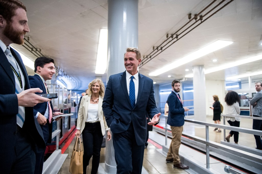 UNITED STATES - MAY 7: Former Sen. Jeff Flake, R-Ariz., and his wife Cheryl Flake arrive in the Capitol on Tuesday, May 7, 2019. Asked by a reporter why he was in the Capitol, Flake replied