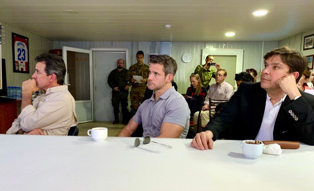 From left, Reps. Tom Graves, Adam Kinzinger and Vicente Gonzalez attend a U.N. Interim Force in Lebanon briefing during a recent trip to the region. (Courtesy Office of Rep. Adam Kinzinger)