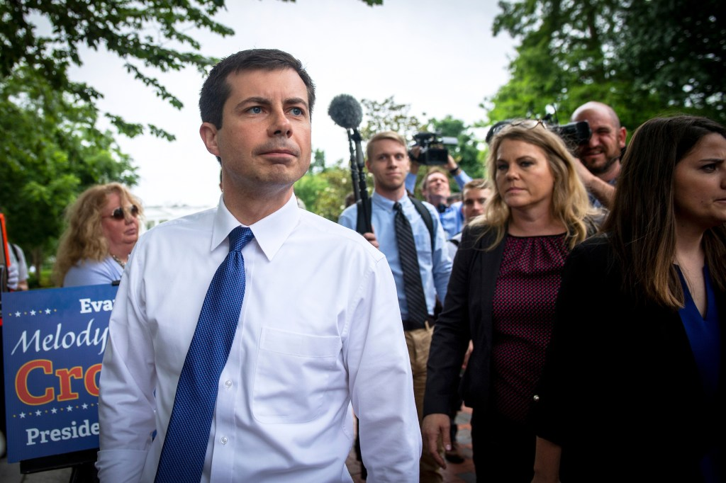 UNITED STATES - JUNE 12: Democratic presidential candidate Mayor Pete Buttigieg walks to attend a rally protesting against President Donald Trump policies outside of the White House in Washington on Wednesday June 12, 2019. (Photo by Caroline Brehman/CQ Roll Call)