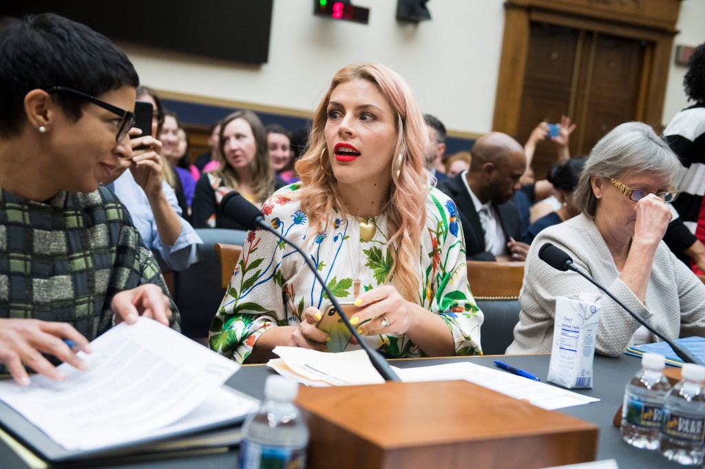 UNITED STATES - JUNE 4: Actor Busy Philipps, center, and Melissa Murray, professor of law at NYU, prepare to testify during House Judiciary Subcommittee on Constitution, Civil Rights and Civil Liberties hearing titled