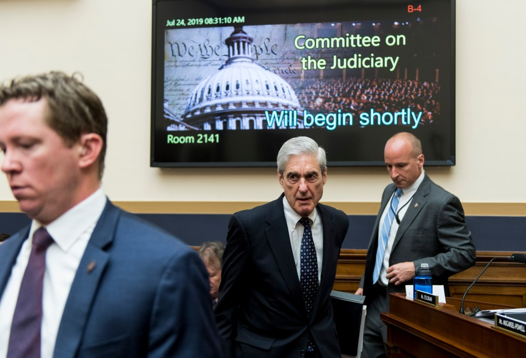 UNITED STATES - JULY 24: Former Special Counsel Robert Mueller arrives to testify during the House Judiciary Committee hearing on