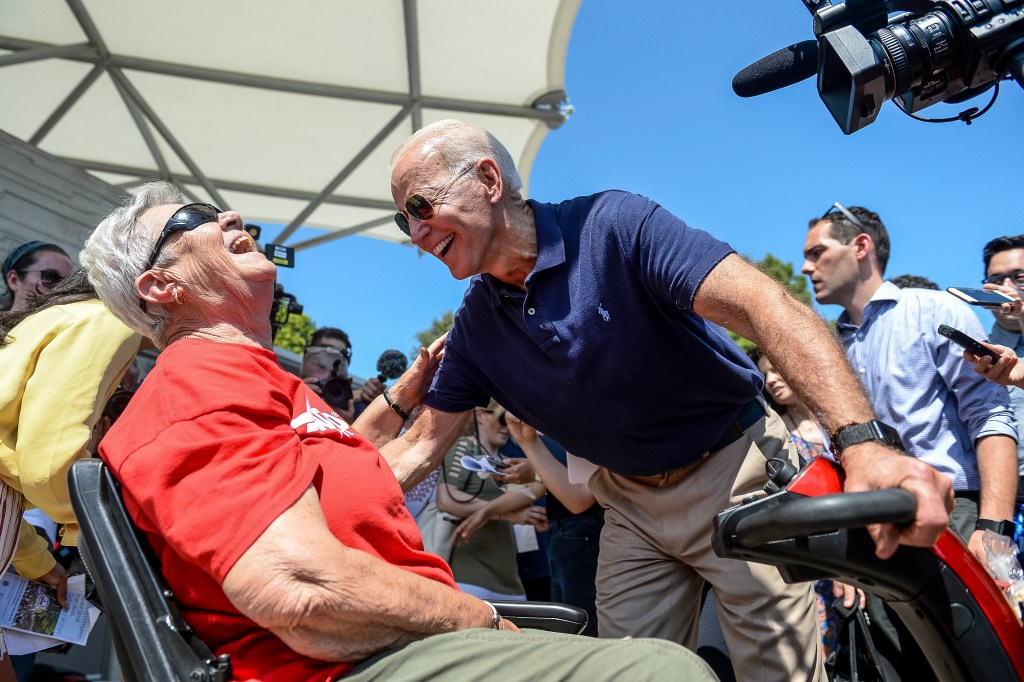 UNITED STATES - AUGUST 8: Democratic presidential candidate former Vice President Joe Biden speaks with Ruth Burrows at the Iowa State Fair in Des Moines on Thursday August 8, 2019. (Photo by Caroline Brehman/CQ Roll Call)