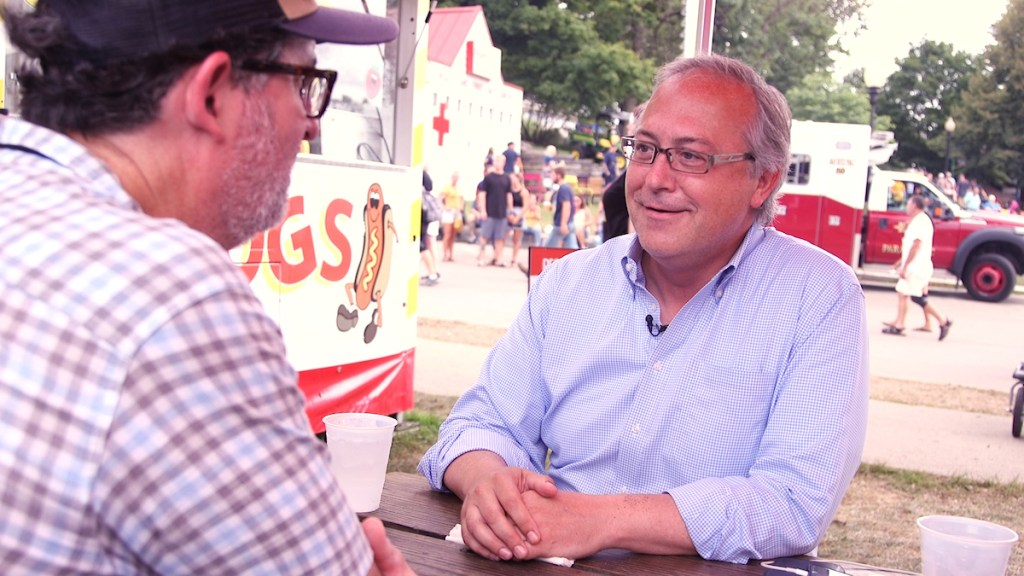 Former GOP Rep. David Young talks to CQ Roll Call at the Iowa State Fair. (Thomas McKinless/CQ Roll Call).
