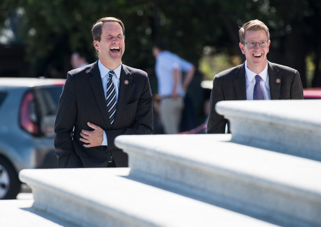UNITED STATES - SEPTEMBER 19: Rep. Jim Himes, D-Conn., and Rep. Derek Kilmer, D-Wash., walk up the House steps at the Capitol for a vote on Thursday, Sept. 19, 2019. (Photo By Bill Clark/CQ Roll Call)