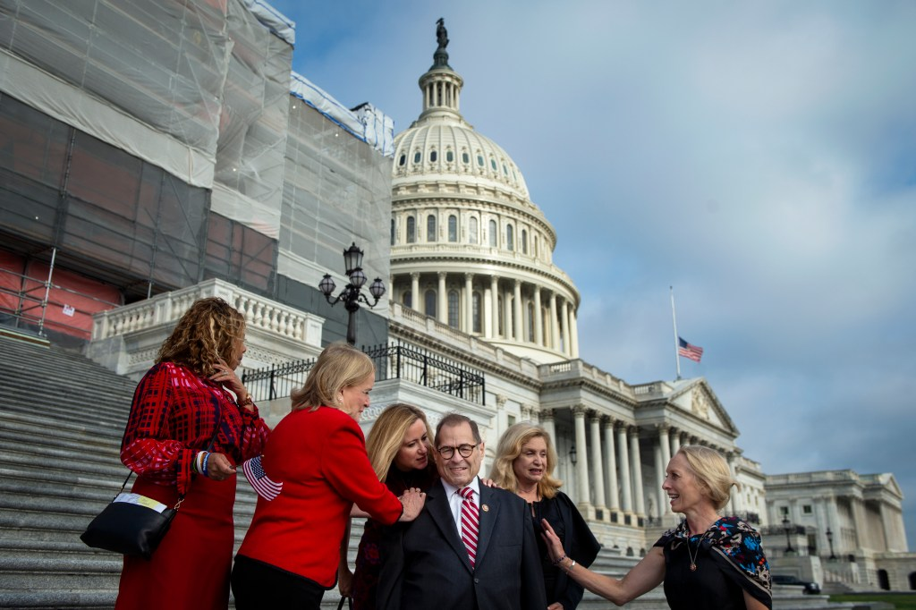 UNITED STATES - SEPTEMBER 11: Rep. Jerrold Nadler, D-N.Y., center, talks with Rep. Lucy McBath, D-Ga., left, Rep. Sylvia Garcia, D-Texas, Rep. Debbie Mucarsel-Powell, D-Fla., Rep. Carolyn Maloney, D-N.Y., and Rep. Mary Gay Scanlon, D-Pa., on the House east front steps of the Capitol in Washington on Wednesday September 11, 2019. (Photo by Caroline Brehman/CQ Roll Call)