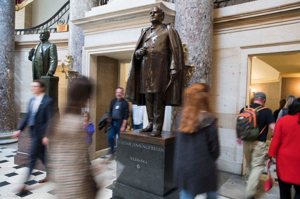 UNITED STATES - MARCH 27: A statue of William Jennings Bryan is seen in the Capitol's Statuary Hall on Wednesday, March 27, 2019. (Photo By Tom Williams/CQ Roll Call)