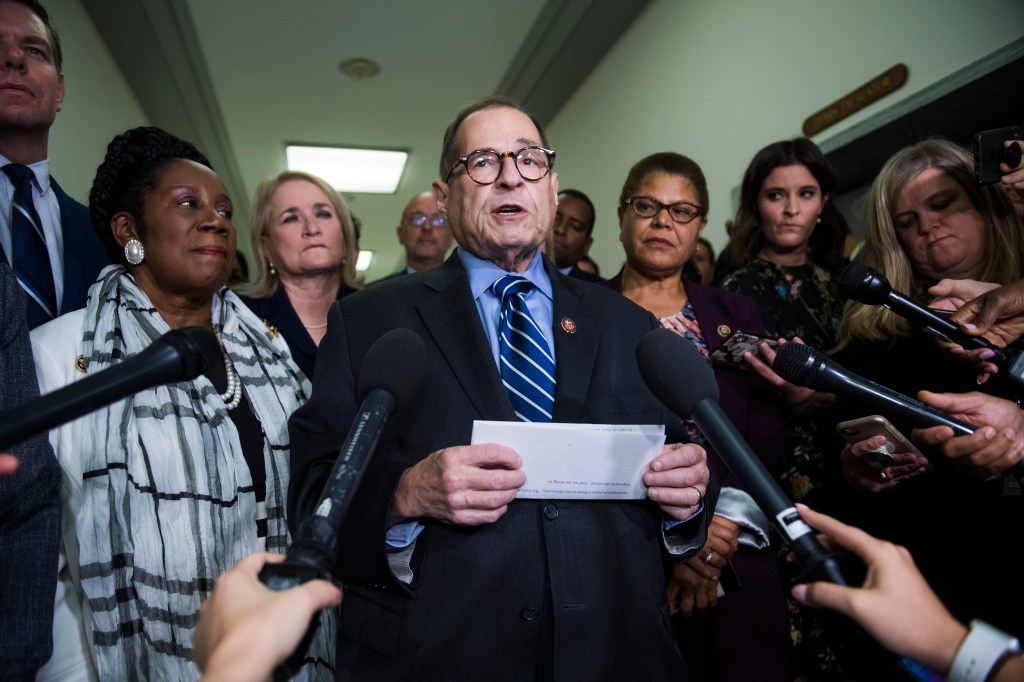 "UNITED STATES - SEPTEMBER 12: Chairman Jerrold Nadler, D-N.Y., talks with reporters outside the House Judiciary Committee markup titled ""Resolution for Investigative Procedures,"" on September 12, 2019. (Photo By Tom Williams/CQ Roll Call)"
