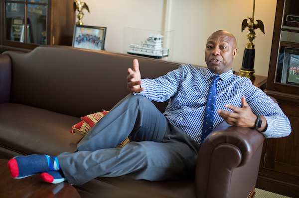 UNITED STATES - MAY 26: Sen. Tim Scott, R-S.C., is interviewed by CQ Roll Call in his Hart Building office, May 26, 2016. (Photo By Tom Williams/CQ Roll Call)