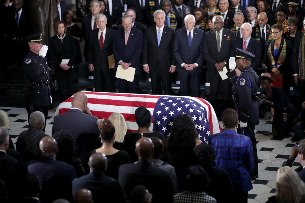 *** POOL ***WASHINGTON, DC - OCTOBER 24: The flag-draped casket of U.S. Rep. Elijah Cummings (D-MD) is seen as the late congressman lies in state during a memorial service at the Statuary Hall of the U.S. Capitol October 24, 2019 in Washington, DC. Rep. Cummings passed away on October 17, 2019 at the age of 68 from