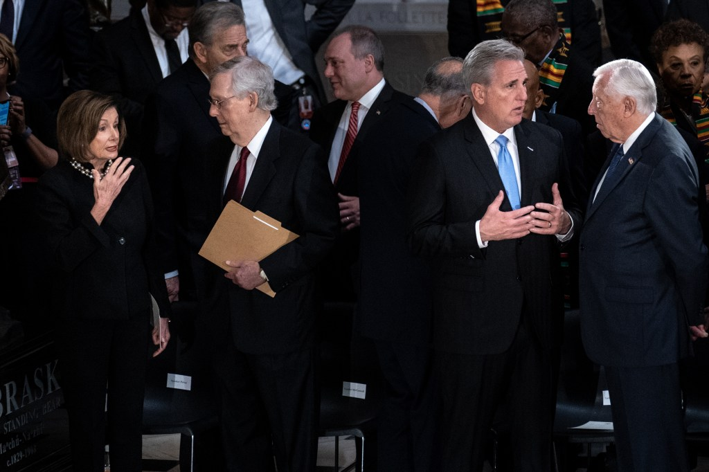WASHINGTON, DC - OCTOBER 24: House Speaker Nancy Pelosi (D-CA) talks with Senate Majority Leader Mitch McConnell (R-KY) as House Minority Leader Kevin McCarthy (R-CA) (2nd R) talks with House Majority Leader Steny Hoyer (D-MD) during a memorial service for the late Rep. Elijah Cummings (D-MD) at the Statuary Hall of the U.S. Capitol October 24, 2019 in Washington, DC. Rep. Cummings passed away on October 17, 2019 at the age of 68 from