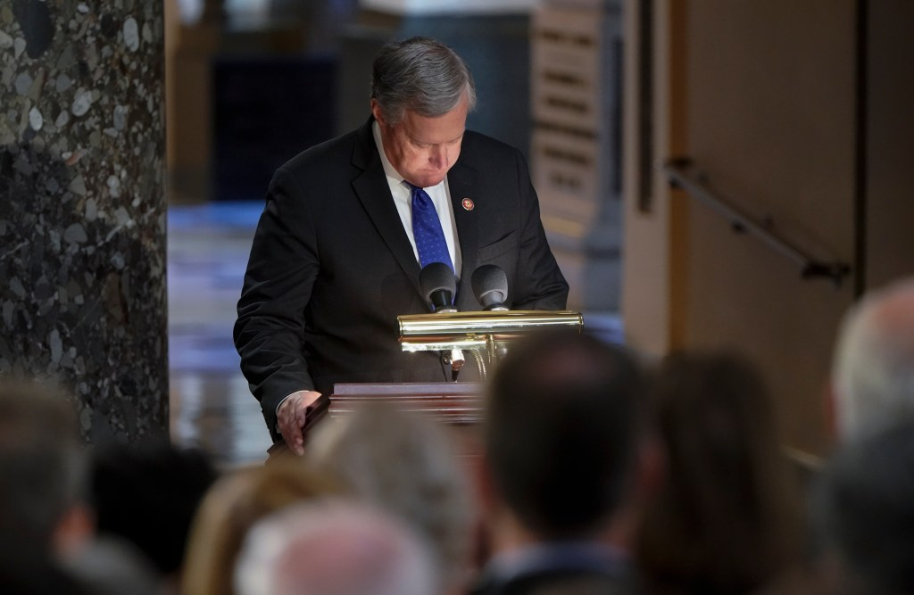 WASHINGTON, DC - OCTOBER 24: Rep. Mark Meadows (R-NC) pauses as he speaks during memorial services for his close friend Rep. Elijah Cummings in Statuary Hall at the U.S. CapitolOctober 24, 2019 in Washington, DC. Rep. Cummings passed away on October 17, 2019 at the age of 68 from