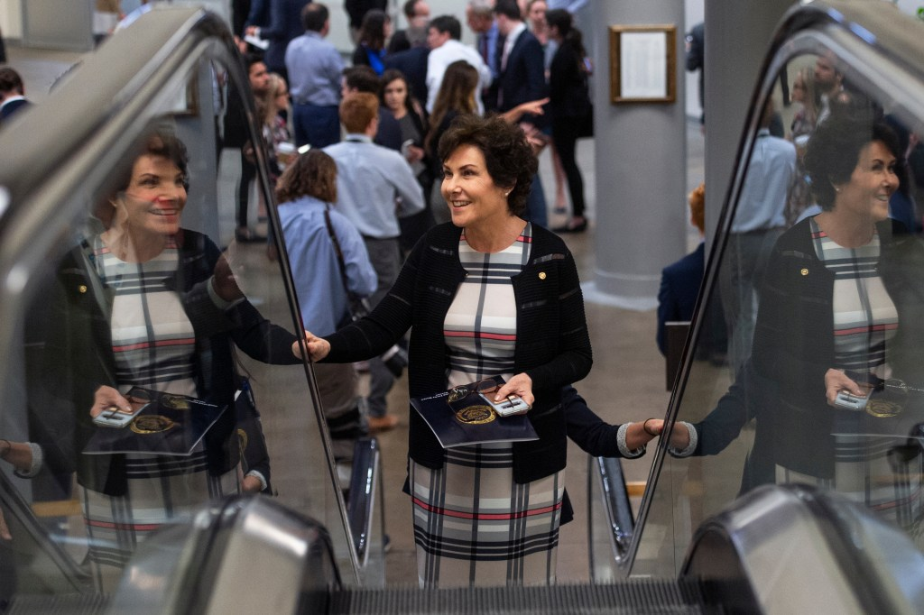 UNITED STATES - AUGUST 1: Sen. Jacky Rosen, D-Nev., heads to the Senate floor for votes on a two-year budget and debt ceiling deal on Thursday August 1, 2019. (Photo by Caroline Brehman/CQ Roll Call)