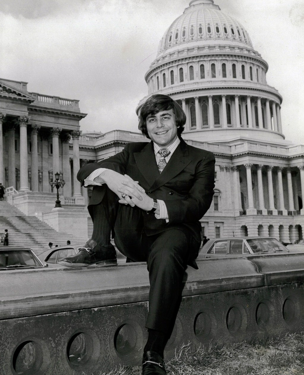 "Yarmuth poses in front of the Capitol in 1971 for Roll Call's ""Hill Pinup"" feature, which, mercifully, has long been discontinued. (Courtesy Office of Rep. John Yarmuth)"
