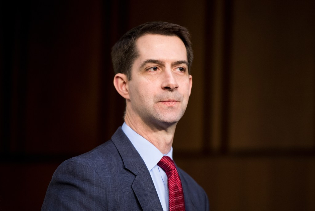 UNITED STATES - JANUARY 29: Sen. Tom Cotton, R-Ark., arrives for the Senate Select Intelligence Committee hearing on