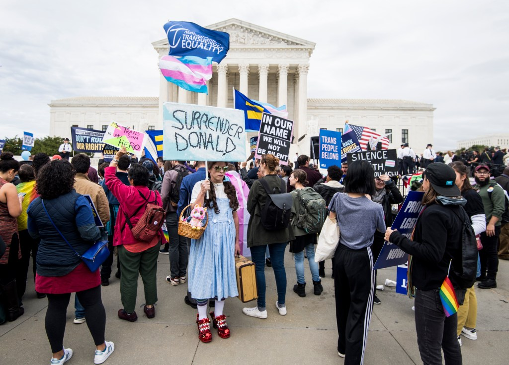 "UNITED STATES - OCTOBER 8: A protester dressed up as Dorothy from the ""Wizard of Oz"" holds a sign in front of the Supreme Court as it hears arguments on whether gay and transgender people are covered by a federal law barring employment discrimination on the basis of sex on Tuesday, Oct. 8, 2019. (Photo By Bill Clark/CQ Roll Call)"