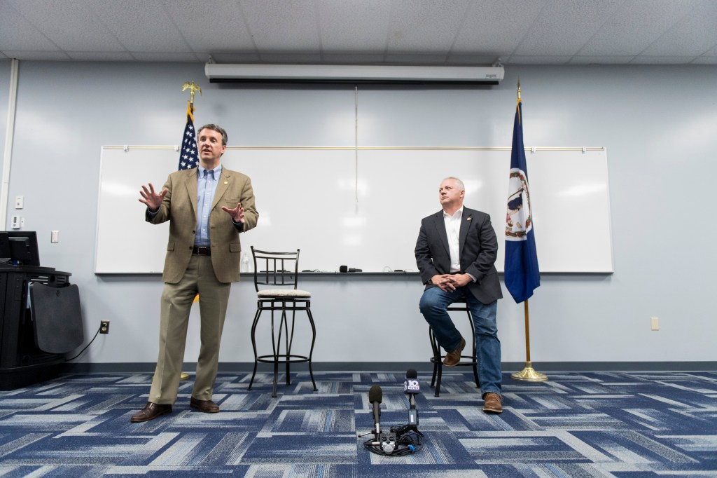 UNITED STATES - OCTOBER 9: Rep. Ben Cline, R-Va., left, and Rep. Denver Riggleman, R-Va., hold a joint town hall meeting at Central Virginia Community College in Bedford, Va., on Wednesday, Oct. 9, 2019. (Photo By Bill Clark/CQ Roll Call)