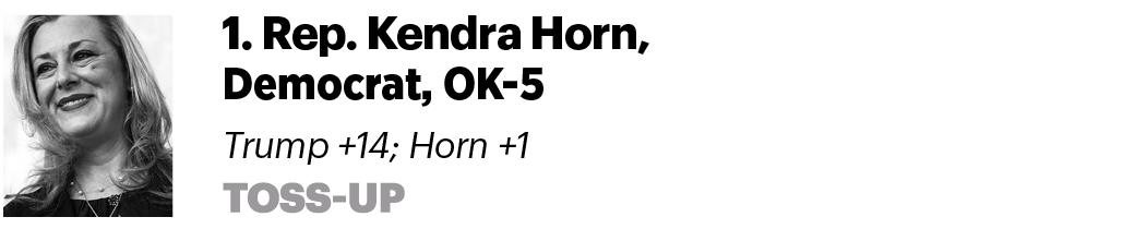 1. Rep. Kendra Horn, D-Okla. Trump +14; Horn +1 Toss-up