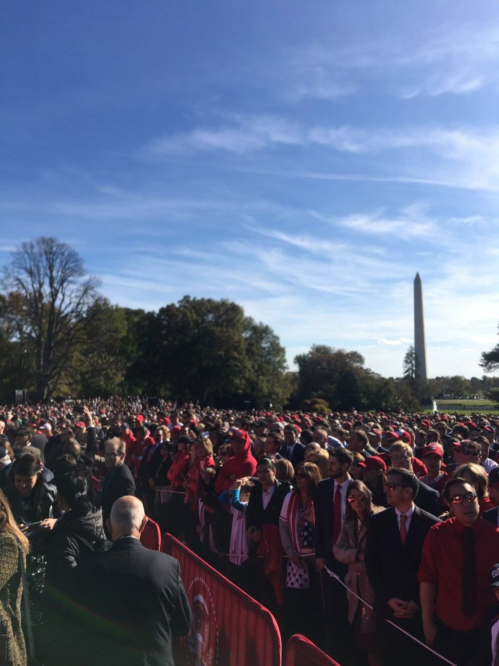 Washington Nationals fans on the White House's South Lawn Monday afternoon. (John T. Bennett/CQ Roll Call)