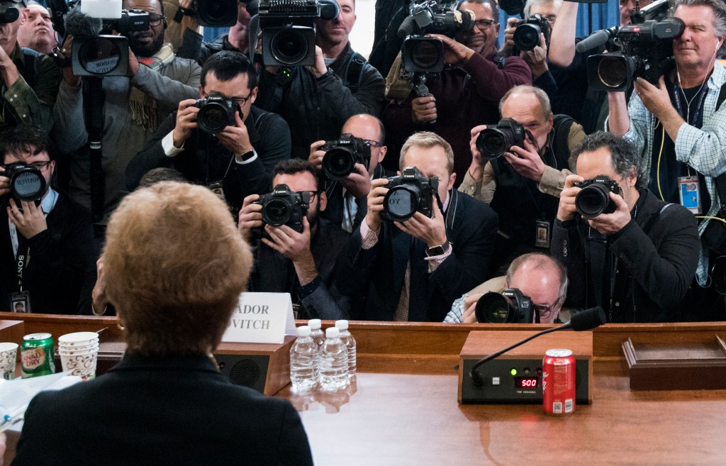 UNITED STATES - NOVEMBER 15: Former U.S. Ambassador to Ukraine Marie Yovanovitch takes her seat for the House Select Intelligence Committee hearing on the impeachment inquiry into President Donald Trump begins on Friday, Nov. 15, 2019. (Photo By Bill Clark/CQ Roll Call)