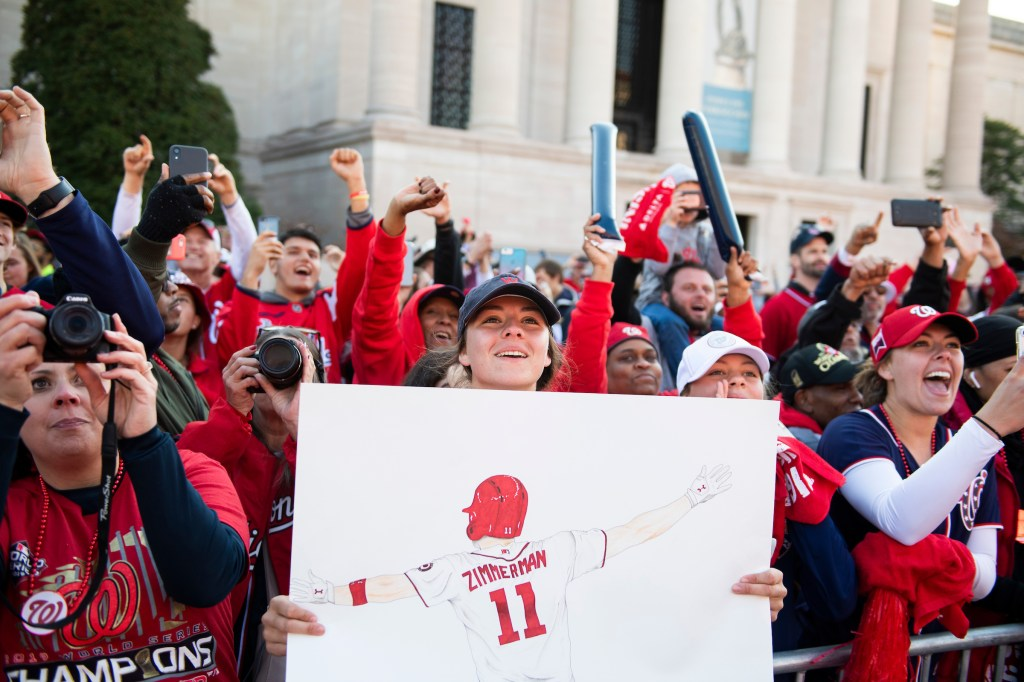 UNITED STATES - NOVEMBER 02: Fans cheer for the Washington Nationals during a parade along Constitution Avenue to celebrate the World Series champions on Saturday, November 2, 2019. (Photo By Tom Williams/CQ Roll Call)