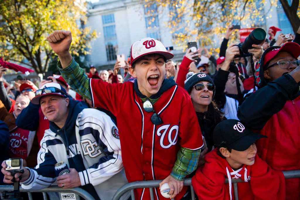UNITED STATES - NOVEMBER 02: Fans cheer for the Washington Nationals along Constitution Avenue during a parade to celebrate the World Series champions on Saturday, November 2, 2019. (Photo By Tom Williams/CQ Roll Call)