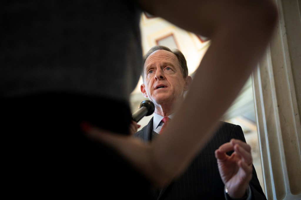 UNITED STATES - JANUARY 22: Sen. Pat Toomey, R-Pa., is interviewed on-camera in the Russell Rotunda on Wednesday, Jan. 22, 2020. (Photo by Caroline Brehman/CQ Roll Call)
