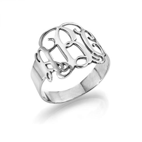 925er Silber Monogramm Ring  MeineNamenskette