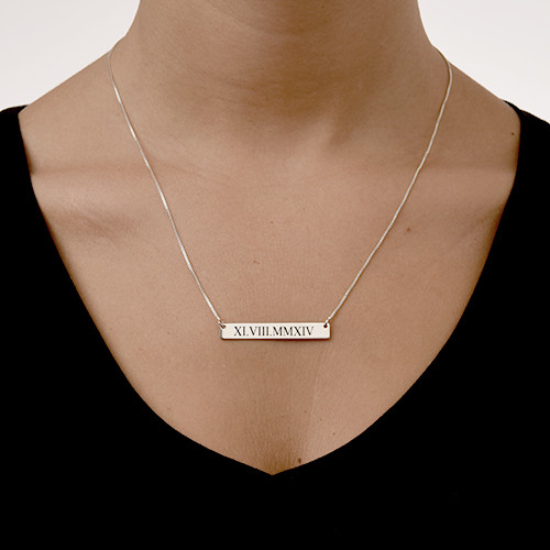 Barren Halskette mit rmischen Zahlen  MeineNamenskette