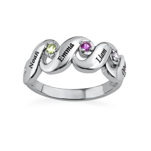 Mtter Ring mit vier Geburtssteinen  MeineNamenskette