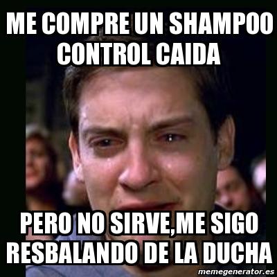 Meme crying peter parker me compre un shampoo control