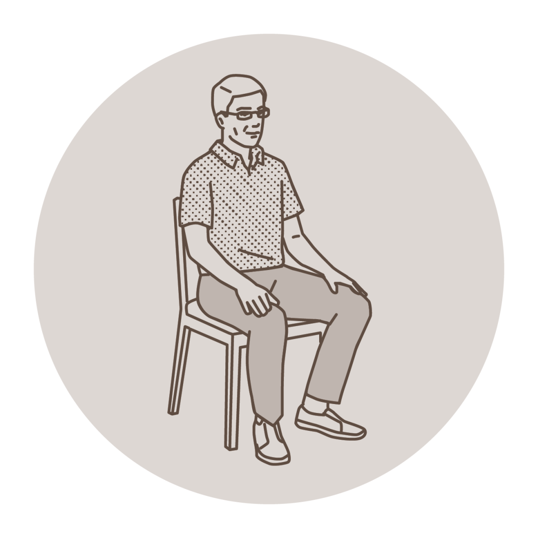 man meditating in chair, illustration