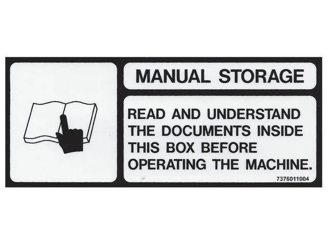 7376011004 GROVE MANLIFT DECAL, MANUAL STORAGE GENUINE
