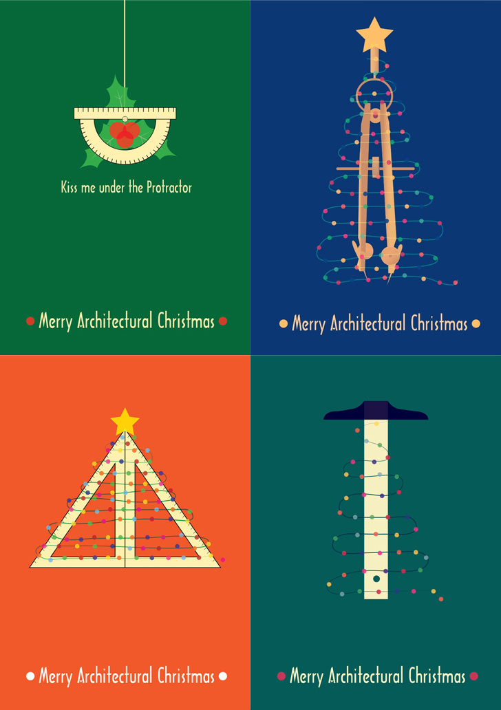 6 Architectural Christmas Posters and DIY Cards