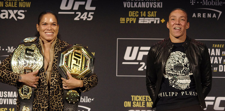 Amanda Nunes and Germaine de Randamie ahead of UFC 245