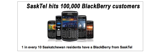 SaskTel announces they have 100,000 BlackBerry customers