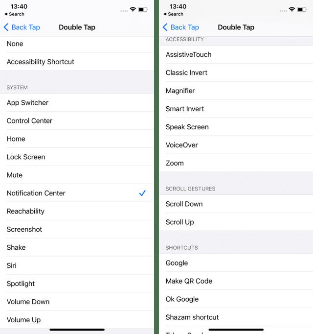 back tap settings 2