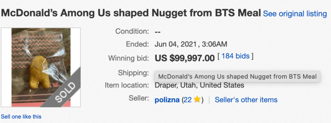 Among Us McNugget eBay listing